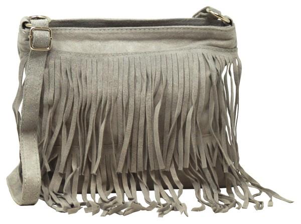Bags4Less Damen Handtasche mit Fransen, Umhängetasche (28,5x25x1cm) hellgrau