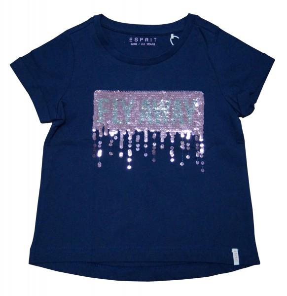 ESPRIT Mädchen T-Shirt mit Pailletten, blau / silber-pink, Gr. 92/98