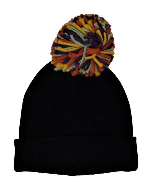 Pepaloves Damen Mütze mit Bommel 108008, schwarz/bunt, one size