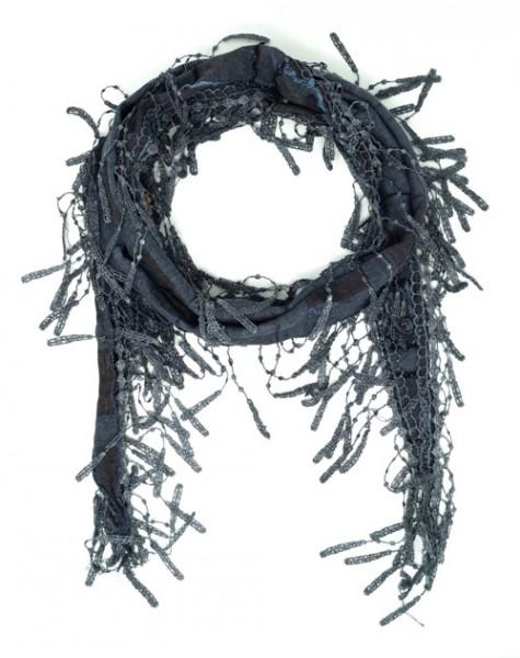 Gil Damen Tuch, Dreieck-Tuch mit Fransen, 160x19 cm, grau-blau