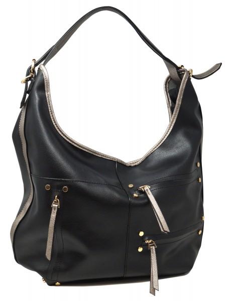 Saccess Damen Handtasche S1636, Schultertasche, schwarz (35x18x55cm)