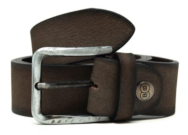 Buckles & Belts Unisex Echtleder Gürtel MetalBrush, Breite 40mm,