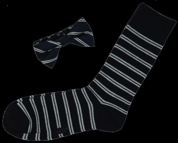 """Celio Herren Fliege mit passenden Socken """"Cibostripe"""", marine/weiß, Geschenkbox"""