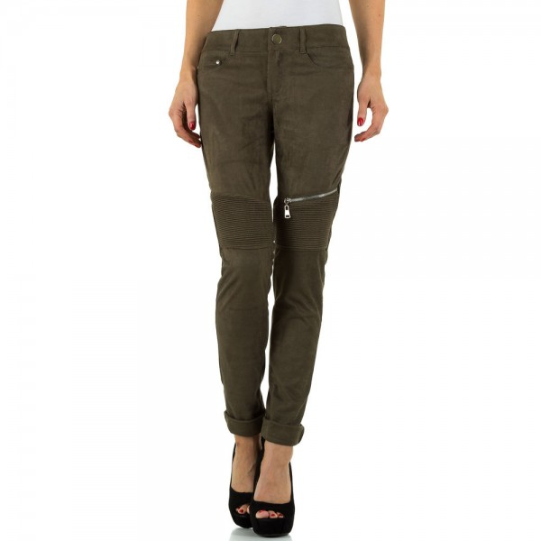 Damen Hose in Veloursleder-Optik in Khaki, Größe L