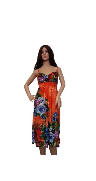 Farbenfrohes Kleid in blau, grün, grau, pink und orange