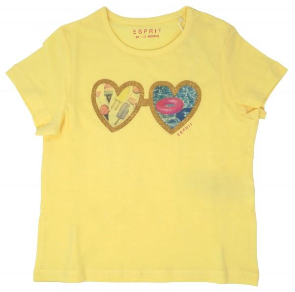 ESPRIT Mädchen T-Shirt mit Herz-Print, gelb, Gr. 80