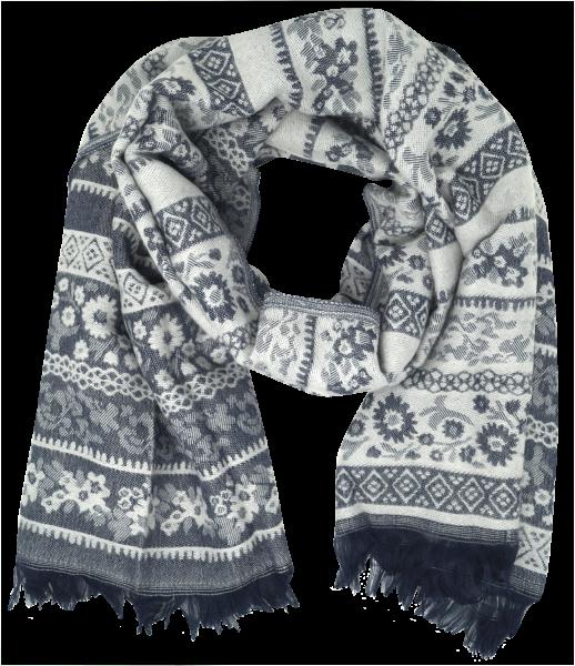 Jennyfer Damen Schal mit Muster, blau-weiß, one size