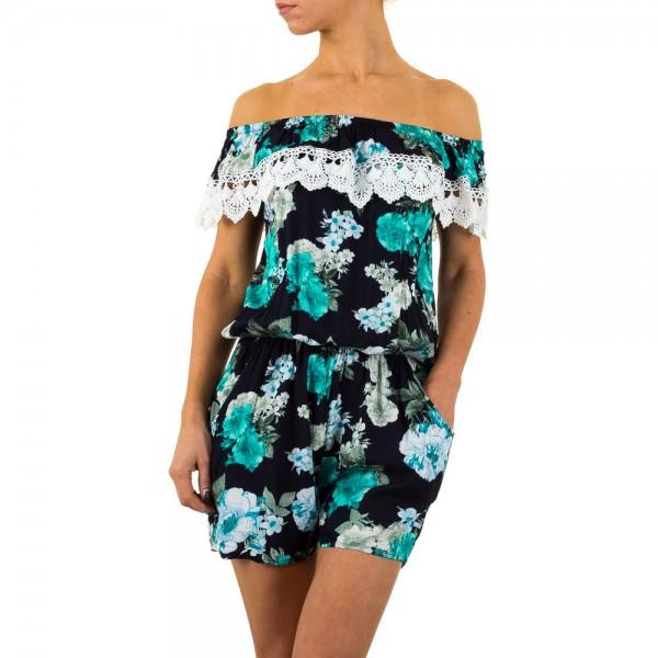 Kurzer Damen Overall in verschiedenen Farben mit Blumenmuster und Häkelspitze