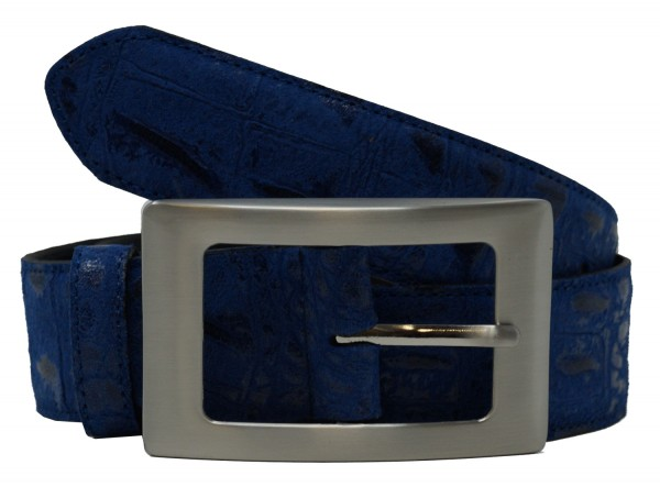 MGM Damen Gürtel Cocco 124-546, Echtleder mit Krokoprägung , royalblau, Gr. 80cm