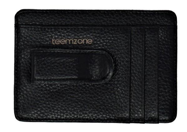 Teemzone Leder Kreditkartenetui Visitenkartenetui mit Gürtelclip, schwarz