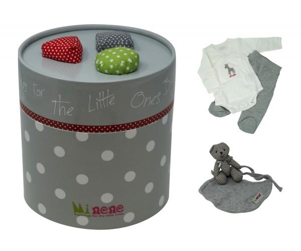 Minene FlauschiForm Geschenkbox für Neugeborene, Geschenkset für Babys, grau