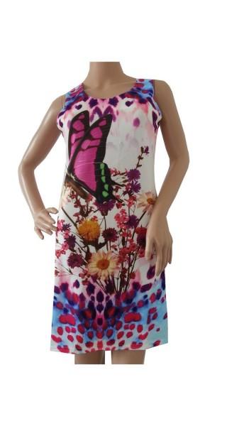 Kleid, Tunika, Longshirt mit Blumenmuster und Schmetterling