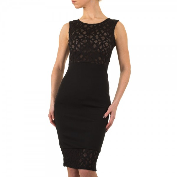 Damen mini Kleid mit Spitze schwarz
