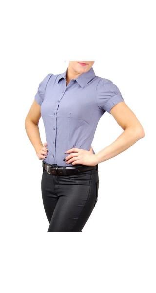 Bodybluse, Blusenbody, Bluse kurzarm in weiß, dkl-blau, rosa, hellblau, Größe S, M, L, XL