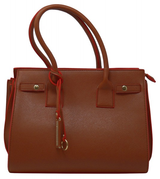 Saccess Damen Handtasche DY1526, Schultertasche, braun (30,5x41x15cm)