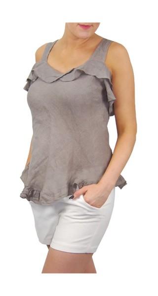 Damen Leinen Shirt mit Volants kurzarm One Size in taupe, beige, rosa und weiß