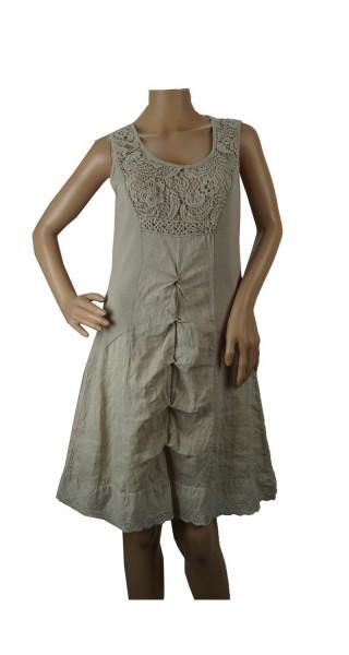 Damen Frauen Leinenkleid in weiß, beige, taupe, L, XL