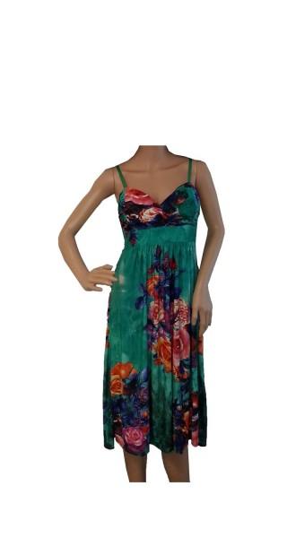 Kleid Midi Blumen bunt in blau, grün, grau, pink und orange