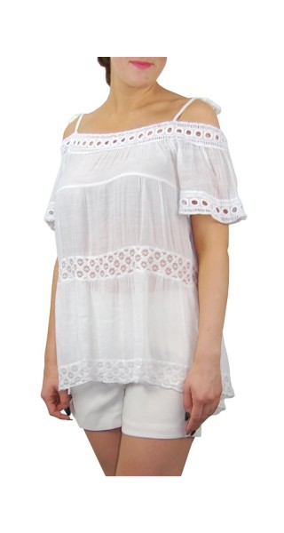 Damen Shirt Tunika Out Cut One Size in verschiedenen modischen Farben