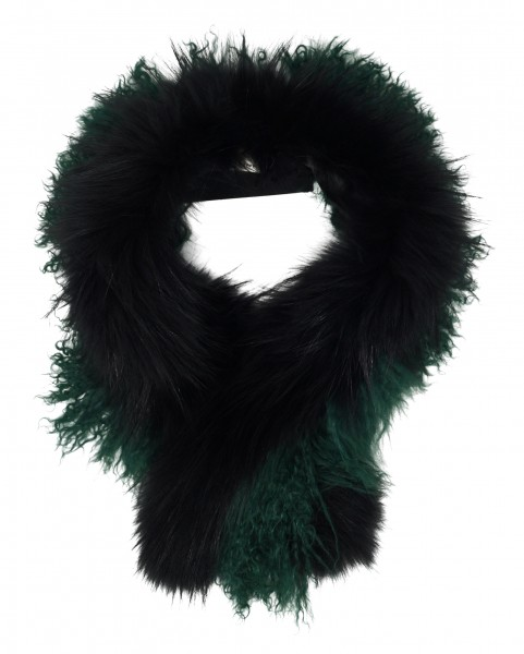 Pinko Kunstfell Kragen, Kunstpelz-Stola, schwarz/grün