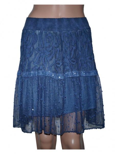 Minirock mit Spitze und Häkeloptik, One Size (Gr. 36 bis 42) blau
