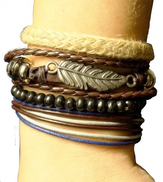 Housweety Unisex Armband für Männer und Frauen, mit Federanhänger, braun