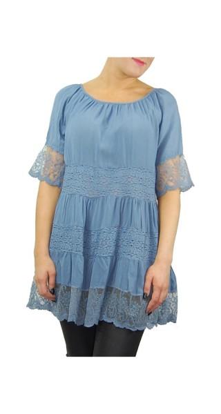 Tunika Bluse Shirt mit Spitze One Size in weiß und blau