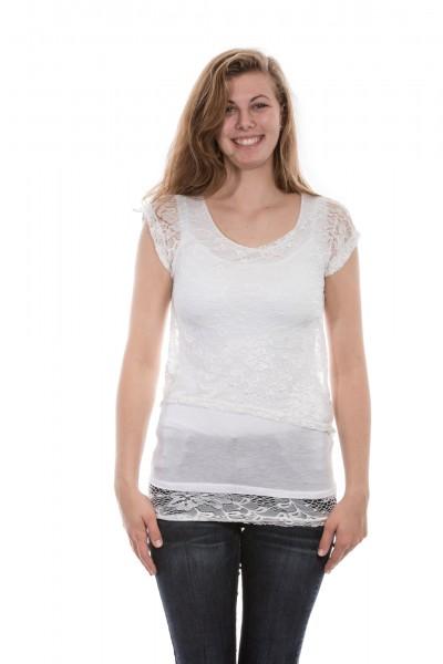 Kurzarm Shirt mit Spitze in weiß