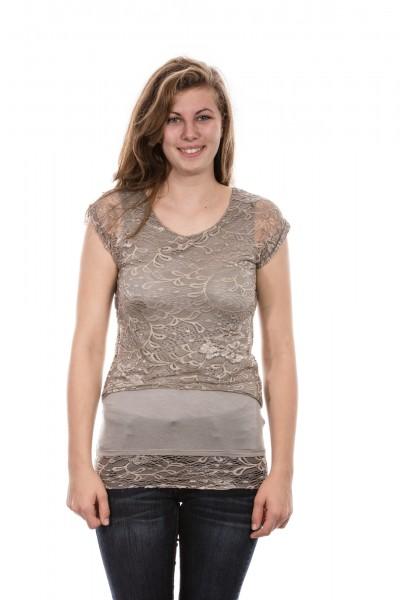 Kurzarm Shirt mit Spitze in taupe