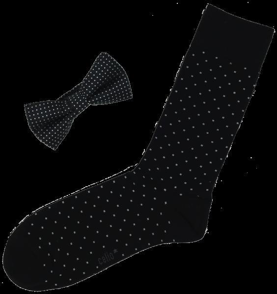"""Celio Herren Fliege mit passenden Socken """"Cibodots"""", schwarz/weiß, Geschenkbox"""