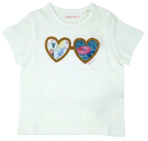 ESPRIT Mädchen T-Shirt mit Herz-Print, weiß, Gr. 80