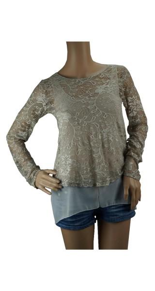 Bluse Tunika mit Spitze 2-teilig in verschienen Farben, OneSize