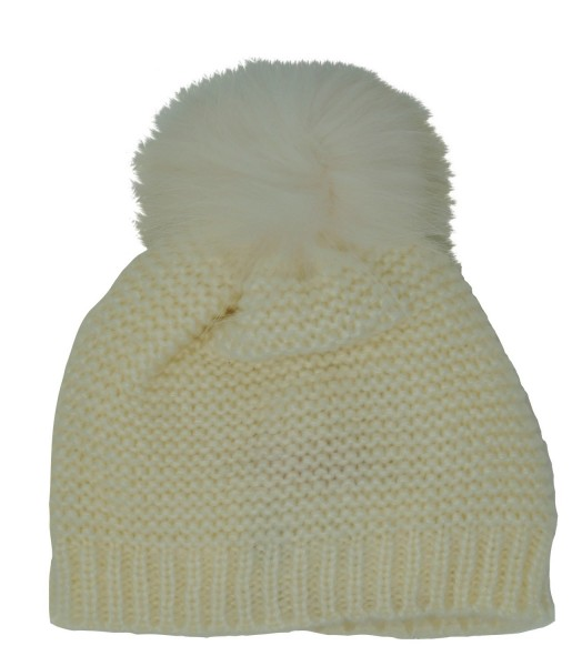 Derhy Damen Mütze Dauphin mit Fellpompom, elfenbein (ecru), one size
