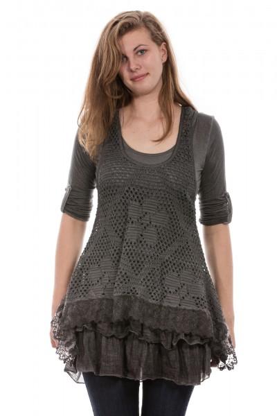 Kleid Tunika mit Rüschen am Saum, 2. tlg., One Size (Gr. 36 bis 42) grau