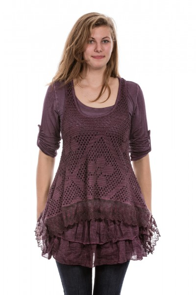 Kleid Tunika mit Rüschen am Saum, 2. tlg., One Size (Gr. 36 bis 42) beere