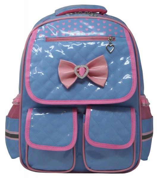 Abshoo Mädchen Schulrucksack in Lackoptik blau/rosa