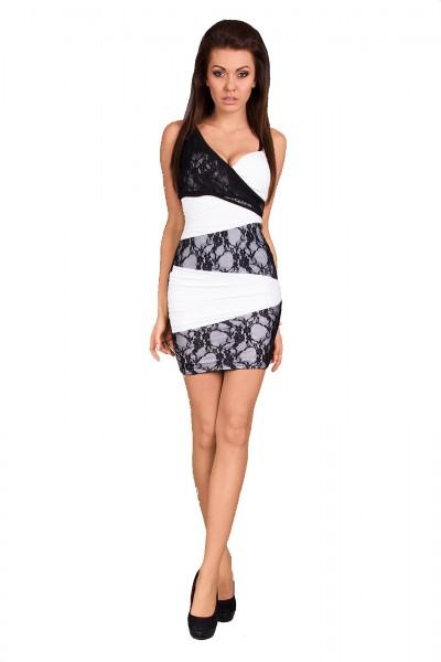 Minikleid schwarz/weiss mit Spitze