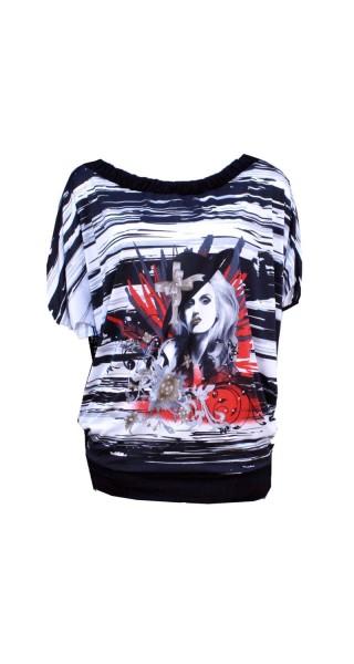 Shirt mit Fledermausarmen in schwarz/weiß