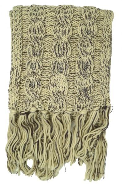 Bench Damen Schal mit Zopfmuster, beige (Seedpearl), one size